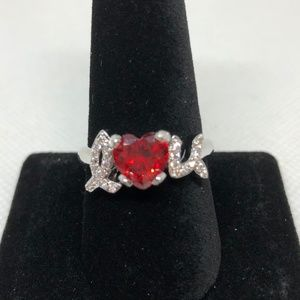 "925 Stamped SS I ""Heart"" U Garnet Ring Size 8"